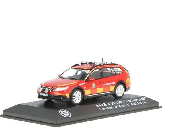 """Saab 9-3X 2009 """"Ledningsbil"""" Rood 1-43 Triple 9 Collection Limited 504 Pieces"""