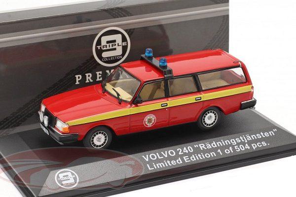 "Volvo 240 Brandweer ""Radningstjansten"" (Zweden) 1983 Rood / Geel 1:43 Triple 9 Collection Limited 504 Pieces"