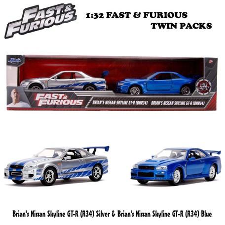 Fast and the Furious Set Nissan Skyline GTR R34 V-Spec II Blue 1999 & Nissan Skyline GTR R34 Silver 2002 1-36 Jada Models