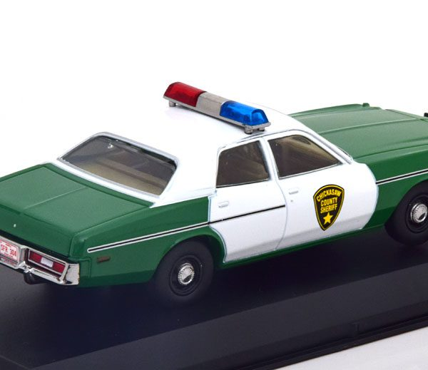 """Plymouth Fury """"Chickasaw County Sheriff"""" 1975 Wit / Groen 1-43 Greenlight Collectibles"""