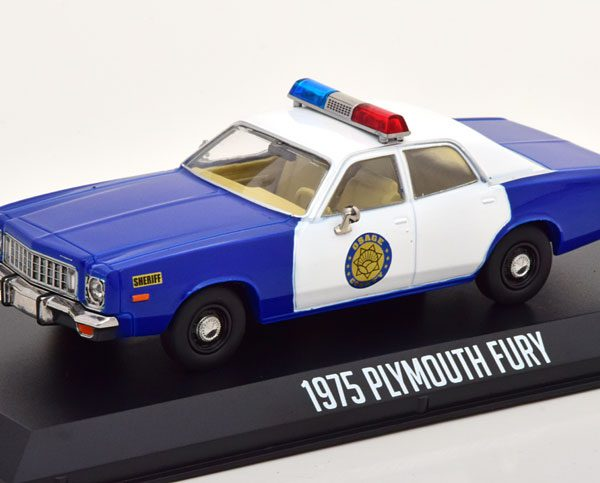 """Plymouth Fury """"Osage County Sheriff"""" 1975 Wit / Blauw 1-43 Greenlight Collectibles"""