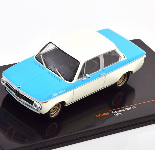 BMW 2002 Tii Koepchen 1974 Blauw / Wit 1-43 Ixo Models