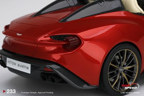 Aston Martin Vanquish Zagato Speedster Lava Red in 1:18 by Top Speed
