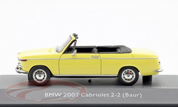 BMW 2002 Cabriolet 2-2 ( Baur ) Geel 1:43 Schuco Pro.R43 Limited 500 Pieces