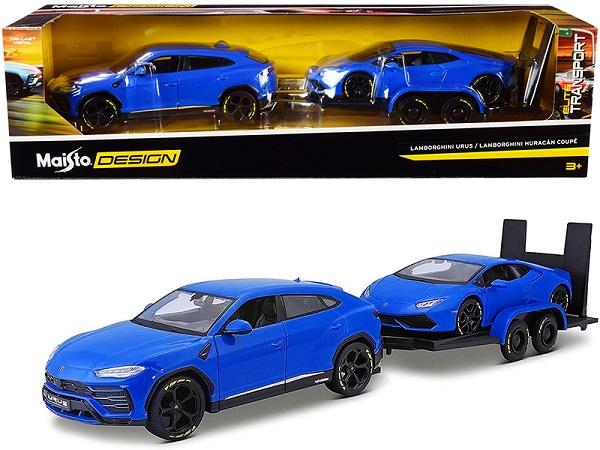 Lamborghini Urus + Lamborghini Huracan Coupe ( 2 Car Set Plus Trailer ) Blauw 1-24 Maisto