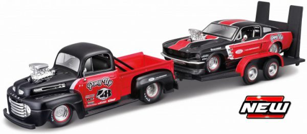 """Ford 1 Pick Up 1948 + Ford Mustang 1967 - """"Pony Up"""" ( 2 Car Set Plus Trailer ) Zwart / Rood 1-24 Maisto"""