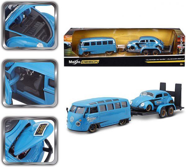 Volkswagen T1 Van 'Samba' + Volkswagen Kever - ( 2 Car Set Plus Trailer ) Blauw 1-24 Maisto Design