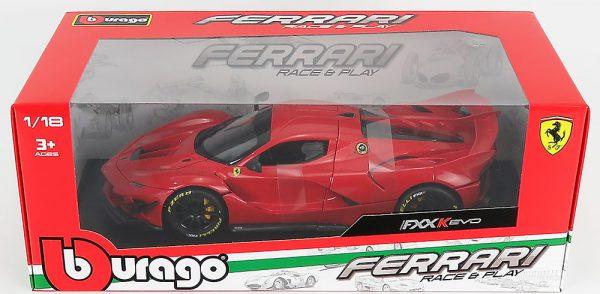 Ferrari FXX-K Evo Hybrid 6.3 V12 2018 Rood ( Zwarte Velgen ) Burago Limited 3000 Pieces