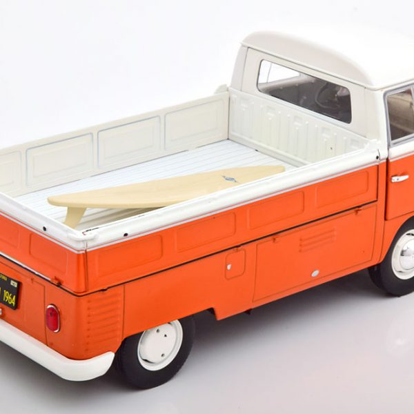 Volkswagen T1 Pick-Up 1950 ( Met Surfboard ) 1-18 Oranje/Wit Solido