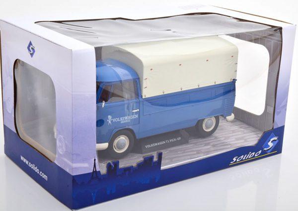 """Volkswagen T1 Pick-Up """"Volkswagen Service"""" 1-18 Blauw met witte huif Solido"""