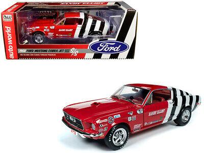 "Ford Mustang 1968 Cobra Jet Super Stock S/S ""Sandy Elliot"" Rood / Wit / Zwart 1-18 Ertl/Auto World"