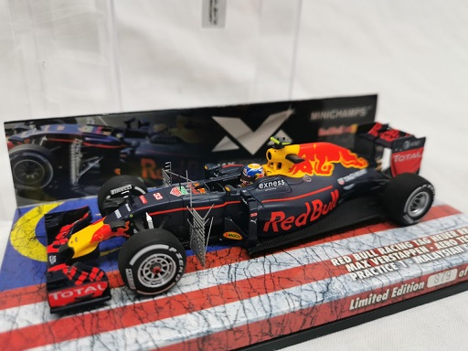 """Red Bull Racing TAG Heuer RB12 Max Verstappen Aero Testing """"Practice 1st Malaysian GP 2016 Minichamps 1-43 Limited 1000 Pieces"""