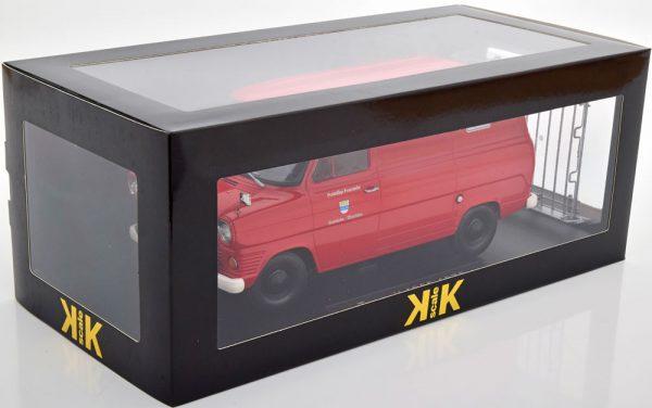 """Ford Transit MK1 1970 """"Brandweer"""" Rood ( Met Dakdrager ) 1-18 KK Scale"""