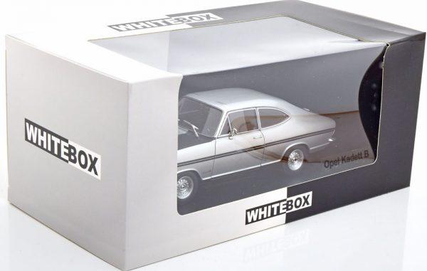 Opel Kadett B Rally Zilver / Zwart 1-24 Whitebox ( Metaal )