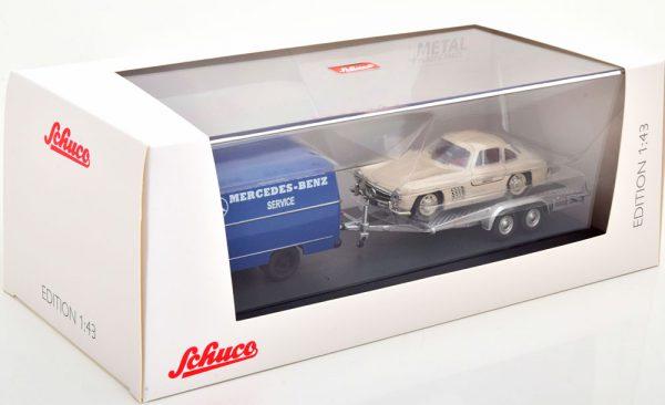"""Mercedes-Benz L319 """"Set"""" met Mercedes-Benz 300SL en Trailer Blauw / Beige 1-43 Schuco"""