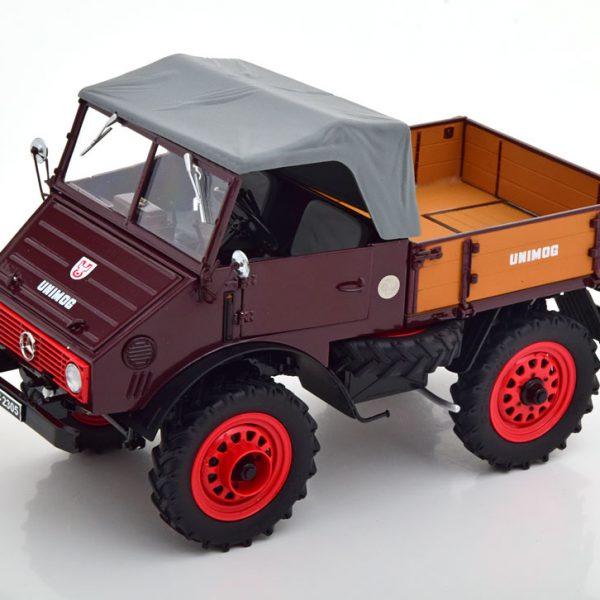 Mercedes-Benz Unimog 401 Donkerrood / Grijs 1-18 Schuco Limited 750 Pieces ( Metaal )