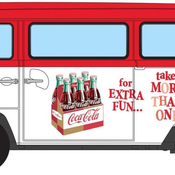 """Volkswagen Campervan """"Zing"""" """"Coca Cola"""" 1-43 Wit/Rood Corgi"""