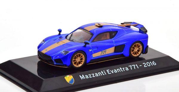 Mazzanti Evantra 771 2016 Blauw Metallic / Goud 1-43 Altaya Supercars Collection